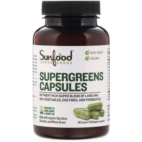 Sunfood, Supergreens Capsules, 620 mg, 90 Capsules فوائد