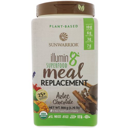 Sunwarrior, Illumin8, Plant-Based Organic Superfood Meal Replacement, Aztec Chocolate, 1.76 lb (800 g) فوائد