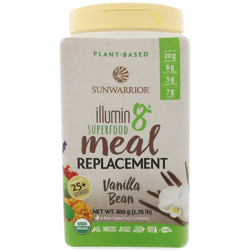 Sunwarrior, Illumin8, Plant-Based Organic Superfood Meal Replacement, Vanilla Bean, 1.76 lb (800 g) فوائد