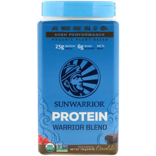Sunwarrior, Warrior Blend Protein, Organic Plant-Based, Chocolate, 1.65 lb (750 g) فوائد
