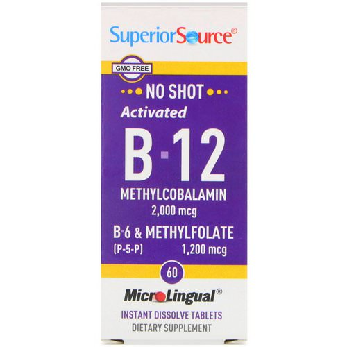 Superior Source, Activated B-12 Methylcobalamin, B-6 (P-5-P) & Methylfolate, 2,000 mcg / 1,200 mcg, 60 MicroLingual Instant Dissolve Tablets فوائد