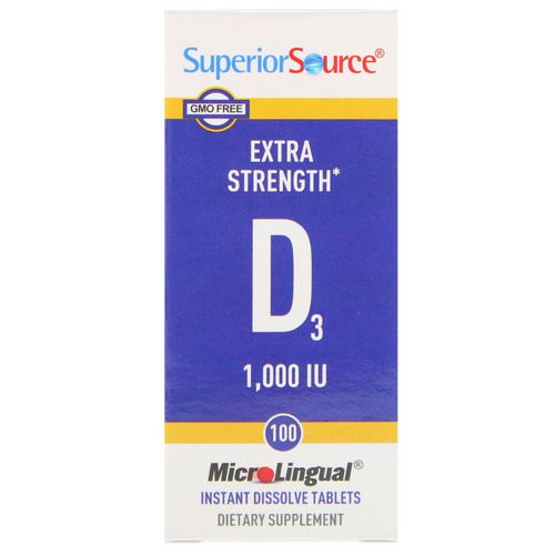 Superior Source, Extra Strength Vitamin D3, 1,000 IU, 100 MicroLingual Instant Dissolve Tablets فوائد