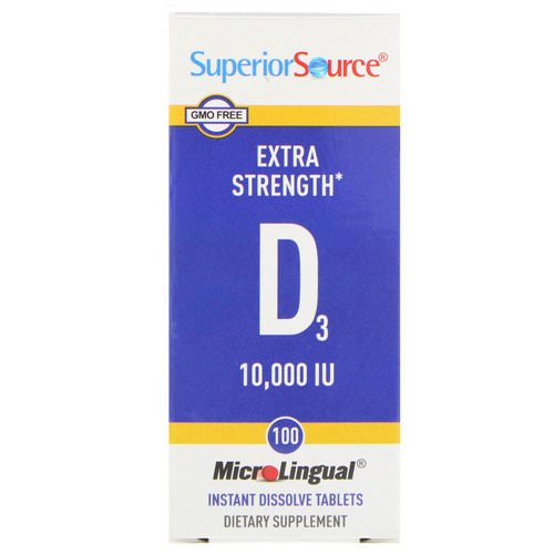 Superior Source, Extra Strength Vitamin D3, 10,000 IU, 100 MicroLingual Instant Dissolve Tablets فوائد