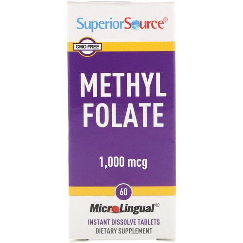 Superior Source, Methyl Folate, 1,000 mcg, 60 MicroLingual Instant Dissolve Tablets فوائد