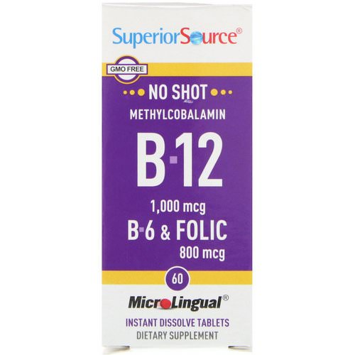 Superior Source, Methylcobalamin B-12, 1000 mcg, B-6 & Folic Acid 800 mcg, 60 MicroLingual Instant Dissolve Tablets فوائد