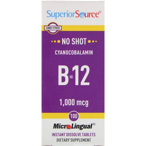 Superior Source, Cyanocobalamin B-12, 1,000 mcg, 100 MicroLingual Instant Dissolve Tablets فوائد