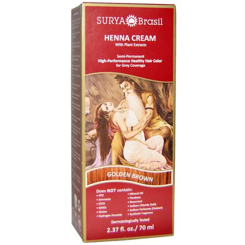 Surya Brasil, Henna Cream, High-Performance Healthy Hair Color for Grey Coverage, Golden Brown, 2.37 fl oz (70 ml) فوائد