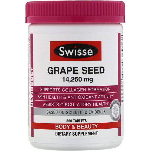 Swisse, Ultiboost, Grape Seed, 14,250 mg, 300 Tablets فوائد