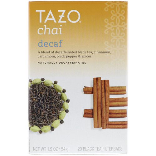 Tazo Teas, Decaf Chai, Naturally Decaffeinated, Black Tea, 20 Filterbags, 1.9 oz (54 g) فوائد