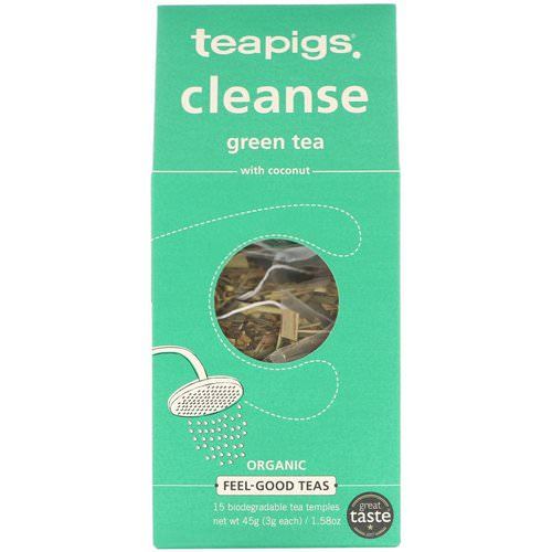 TeaPigs, Cleanse Green Tea with Coconut, 15 Tea Temples, 1.58 oz (45 g) فوائد