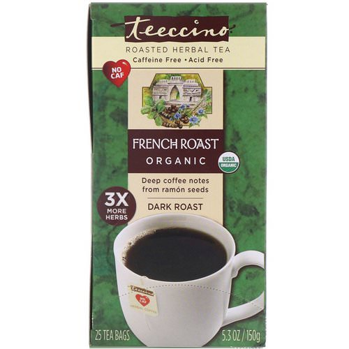 Teeccino, Organic Roasted Herbal Tea, French Roast, Dark Roast, Caffeine Free, 25 Tea Bags, 5.3 oz (150 g) فوائد