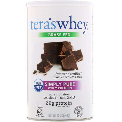 Tera's Whey, Grass Fed, Simply Pure Whey Protein, Fair Trade Dark Chocolate Cocoa, 12 oz (340 g) فوائد