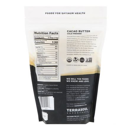 Terrasoul Superfoods, Cacao Butter, Cold-Pressed, 16 oz (454 g):زبدة الكاكا,حفظها