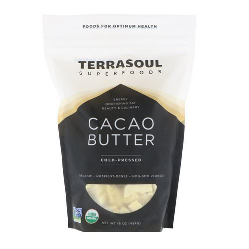 Terrasoul Superfoods, Cacao Butter, Cold-Pressed, 16 oz (454 g) فوائد