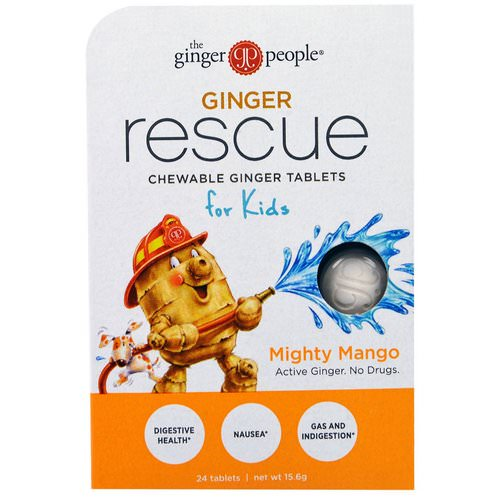 The Ginger People, Ginger Rescue, Chewable Ginger Tablets for Kids, Mighty Mango, 24 Tablets (15.6 g) فوائد