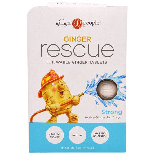 The Ginger People, Ginger Rescue, Chewable Ginger Tablets, Strong, 24 Tablets (15.6 g) فوائد