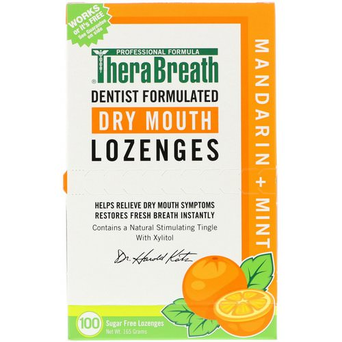 TheraBreath, Dry Mouth Lozenges, Mandarin Mint, 100 Wrapped Lozenges, 165 g فوائد