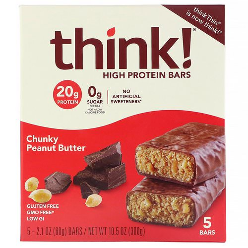 ThinkThin, High Protein Bars, Chunky Peanut Butter, 5 Bars, 2.1 oz (60 g) Each فوائد