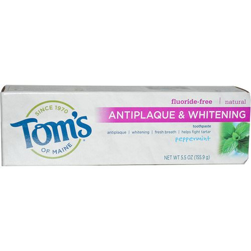 Tom's of Maine, Antiplaque & Whitening, Fluoride-Free Toothpaste, Peppermint, 5.5 oz (155.9 g) فوائد