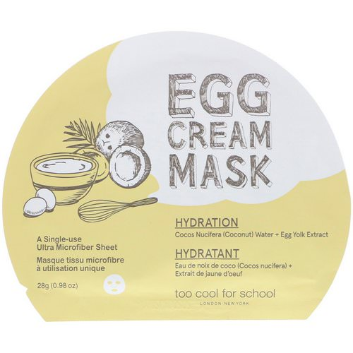 Too Cool for School, Egg Cream Mask, Hydration, 1 Sheet, (0.98 oz) 28 g فوائد