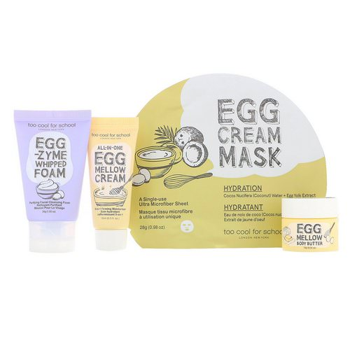 Too Cool for School, Egg-ssential Skincare Mini Set, 4 Piece Set فوائد