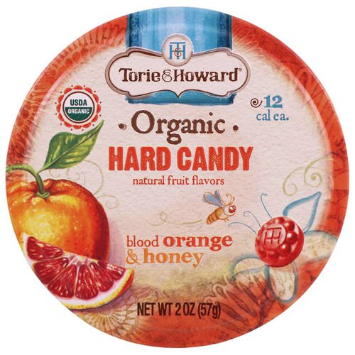 Torie & Howard, Organic, Hard Candy, Blood Orange & Honey, 2 oz (57 g) فوائد