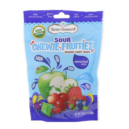 Torie & Howard, Organic, Sour Chewie Fruities, Assorted Sours, 4 oz (113.40 g) فوائد