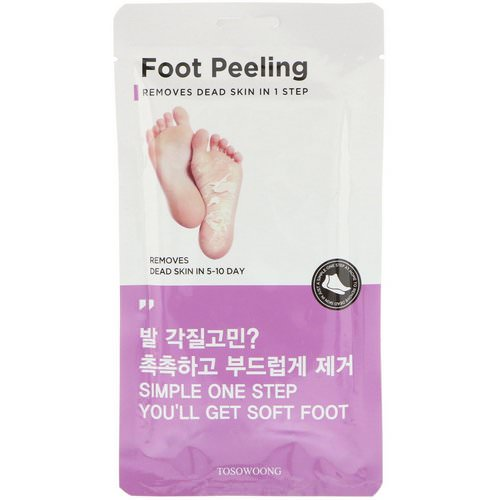 Tosowoong, Foot Peeling, Size Large, 2 Pieces, 20 g Each فوائد