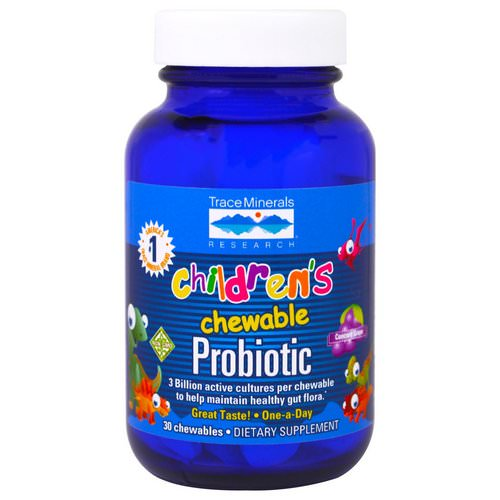 Trace Minerals Research, Children's Chewable Probiotic, Concord Grape, 30 Chewables فوائد