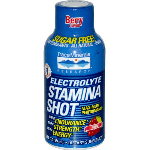 Trace Minerals Research, Electrolyte Stamina Shot, Berry, 2 fl oz (59 ml) فوائد