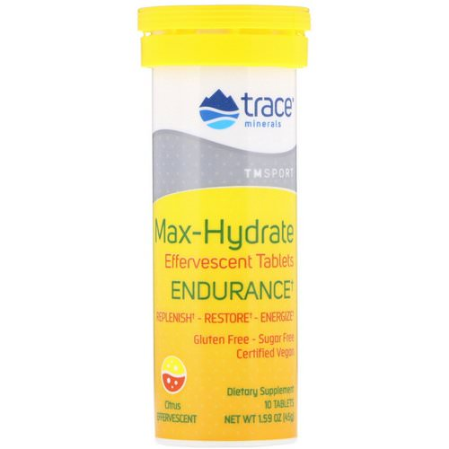 Trace Minerals Research, Max-Hydrate Endurance, Effervescent Tablets, Citrus, 1.59 oz (45 g) فوائد