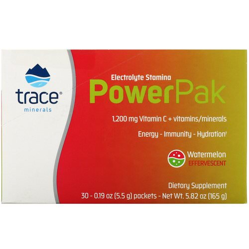 Trace Minerals Research, Electrolyte Stamina, Power Pak, Watermelon Effervescent, 30 Packets, 0.19 oz (5.5 g) Each فوائد