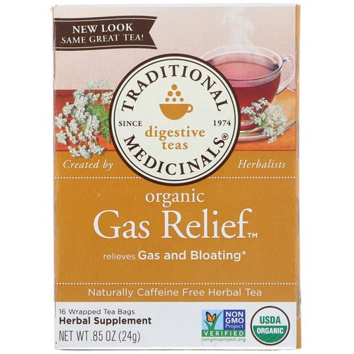 Traditional Medicinals, Digestive Teas, Organic Gas Relief Tea, Naturally Caffeine Free, 16 Wrapped Tea Bags, .85 oz (24 g) فوائد