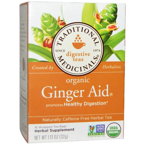 Traditional Medicinals, Digestive Teas, Organic Ginger Aid, Naturally Caffeine Free, 16 Wrapped Tea Bags, 1.13 oz (32 g) فوائد