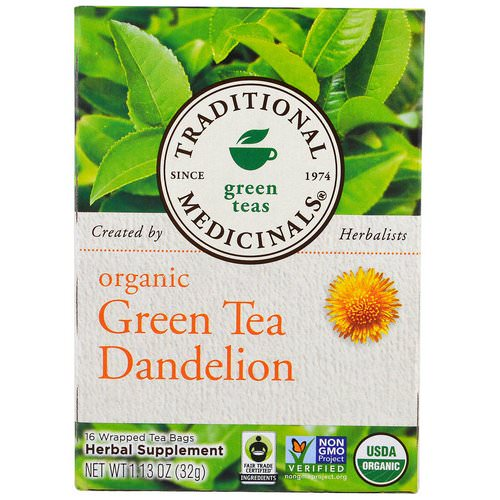 Traditional Medicinals, Green Teas, Organic Green Tea Dandelion, 16 Wrapped Tea Bags, 1.13 oz (32 g) فوائد