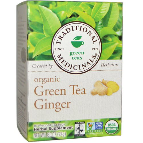 Traditional Medicinals, Green Teas, Organic Green Tea Ginger, 16 Wrapped Tea Bags, .85 oz (24 g) فوائد