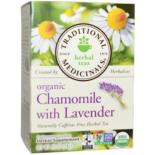 Traditional Medicinals, Herbal Teas, Organic Chamomile with Lavender, Naturally Caffeine Free, 16 Wrapped Tea Bags, .85 oz (24 g) فوائد