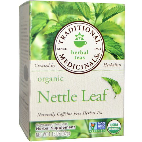 Traditional Medicinals, Herbal Teas, Organic Nettle Leaf Herbal Tea, Naturally Caffeine Free, 16 Wrapped Tea Bags, 1.13 oz (32 g) فوائد
