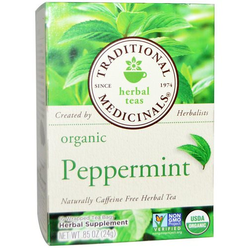 Traditional Medicinals, Herbal Teas, Organic Peppermint, Naturally Caffeine Free, 16 Wrapped Tea Bags, .85 oz. (24 g) فوائد