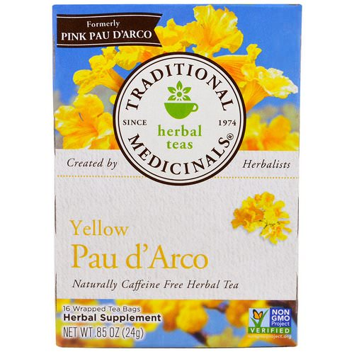 Traditional Medicinals, Herbal Teas, Yellow Pau d' Arco, Naturally Caffeine Free, 16 Wrapped Tea Bags, .85 oz (24 g) فوائد