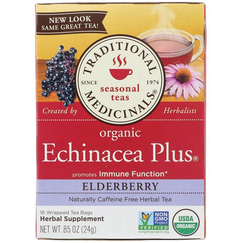 Traditional Medicinals, Organic Echinacea Plus, Elderberry, Caffeine Free, 16 Wrapped Tea Bags, .85 oz (24 g) فوائد