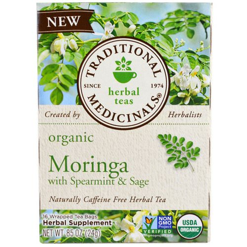 Traditional Medicinals, Organic Moringa with Spearmint & Sage, 16 Wrapped Tea Bags, 86 oz (24 g) فوائد
