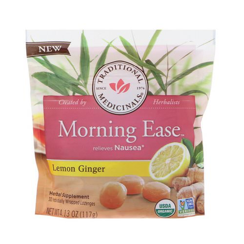 Traditional Medicinals, Organic, Morning Ease, Lemon Ginger, 30 Individually Wrapped Lozenges, 4.13 oz (117 g) فوائد