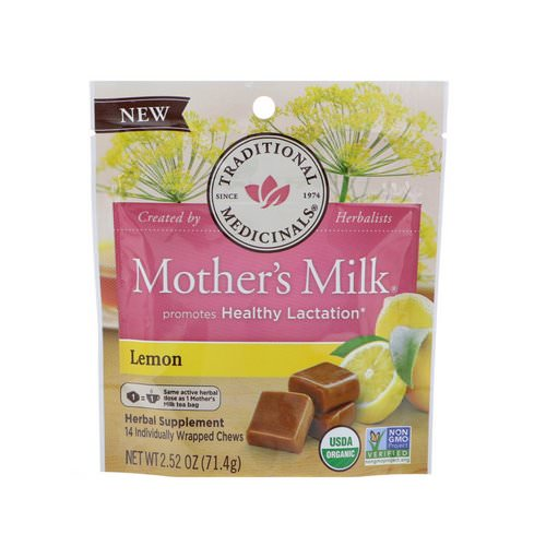 Traditional Medicinals, Organic, Mother's Milk, Lemon, 14 Individually Wrapped Chews, 2.52 oz (71.4 g) فوائد