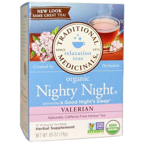 Traditional Medicinals, Relaxation Teas, Organic Nighty Night, Naturally Caffeine Free Herbal Tea, Valerian, 16 Wrapped Tea Bags, .85 oz (24 g) فوائد