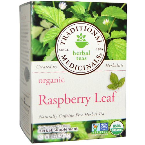 Traditional Medicinals, Relaxation Teas, Organic Raspberry Leaf, Naturally Caffeine Free, 16 Wrapped Tea Bags, .85 oz (24 g) فوائد