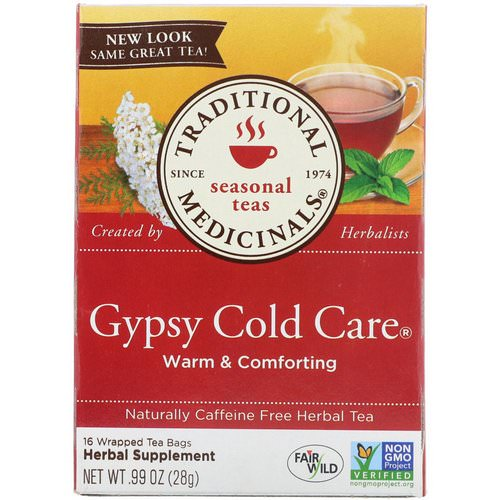 Traditional Medicinals, Seasonal Teas, Gypsy Cold Care, Naturally Caffeine Free, 16 Wrapped Tea Bags, .99 oz (28 g) فوائد