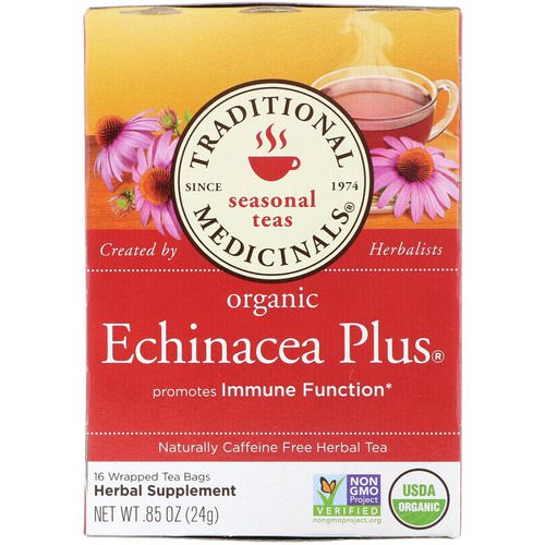 Traditional Medicinals, Seasonal Teas, Organic Echinacea Plus, Naturally Caffeine Free, 16 Wrapped Tea Bags, .85 oz (24 g) فوائد