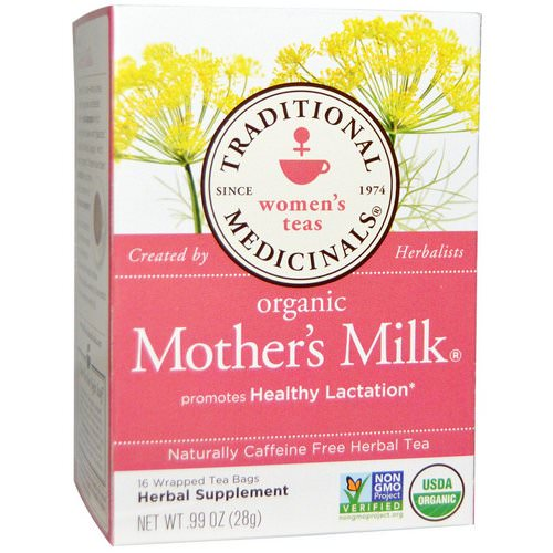 Traditional Medicinals, Women's Teas, Organic Mother's Milk, Naturally Caffeine Free, 16 Wrapped Tea Bags, .99 oz (28 g) فوائد