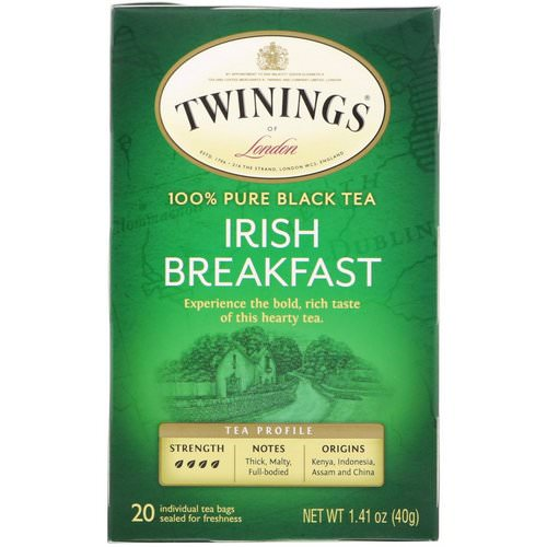 Twinings, 100% Pure Black Tea, Irish Breakfast, 20 Tea Bags, 1.41 oz (40 g) فوائد